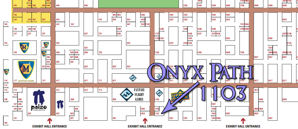 One Week Until Gen Con! – Onyx Path Publishing Gencon Map on anime expo map, pennsic map, history map, necc map, pax map, sxsw map, dragon con map, origins map, rhinebeck map,