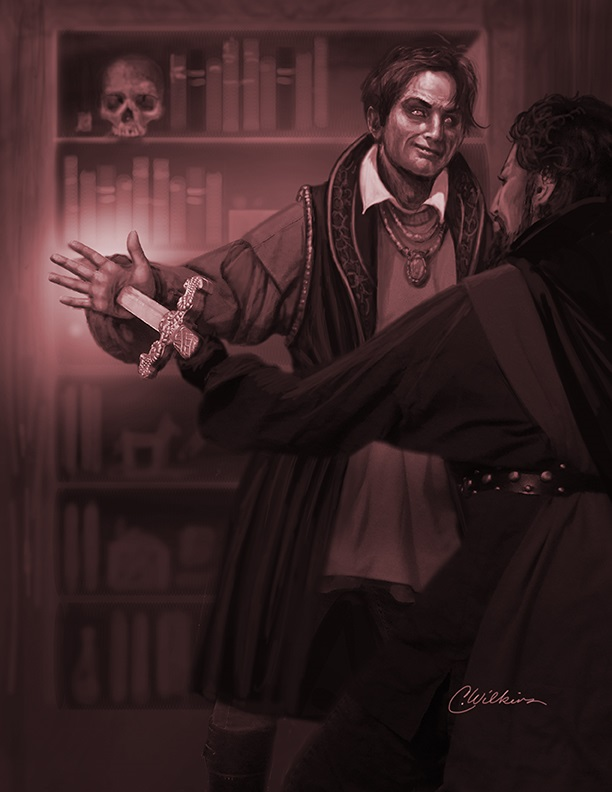 A would-be assassin stabs a vampire in the Elizabethan era.