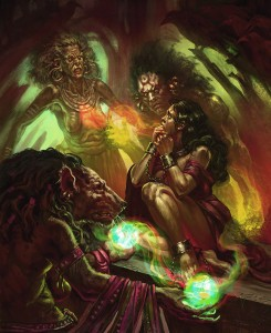 """Scarred Lands full page art """"Witches"""" by Subroto Bhaumik"""