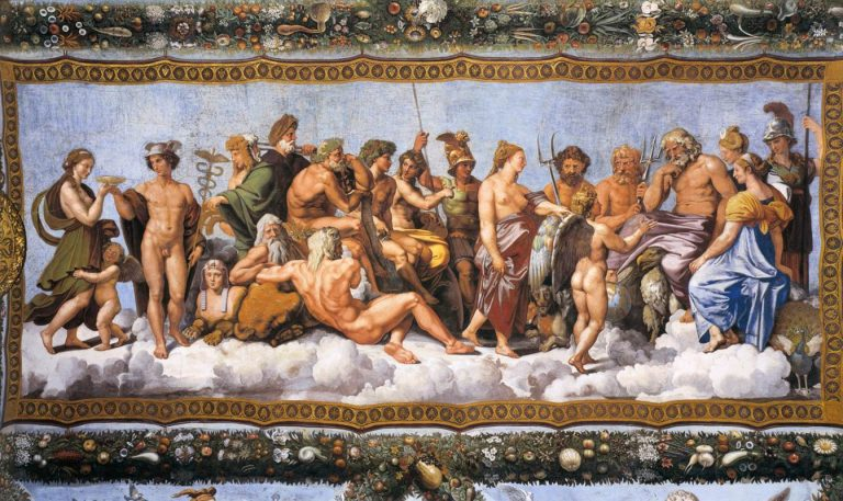 The Twelve Olympians plus eight other gods. Loggia di Psiche, 1518–19, by Raphael and his school, at the Villa Farnesina