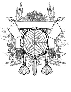 The symbol assembled in Photoshop. The smaller feathers are copies of the longer one compressed.